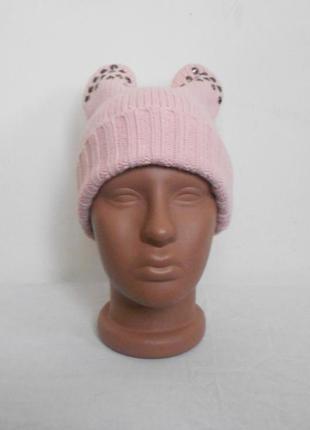 Осенняя зимняя вязаная шапка с ушками