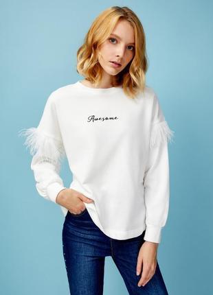 Белая толстовка свитшот худи свитер футболка с длинным рукавом ostin