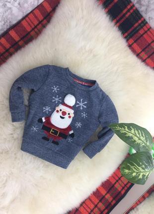 Детский новогодний свитшот свитер кофта с санта клаусом