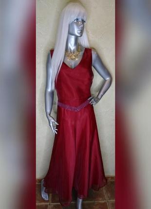 Бирка шифоновое вечернее нарядное красное платье в пол canada xl-2xl 18