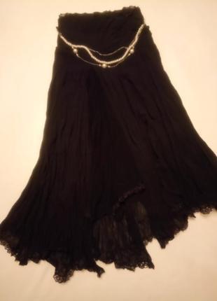 Удивительная юбка разной длины с жемчужным пояском\ассиметричный крой