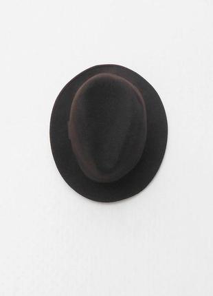 Коричневая шерстяная фетровая классическая шляпа федора коричневая