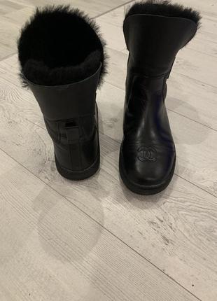 Ботинки зимние кожаные чёрные женские
