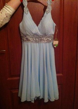Новогоднее серебряно голубое платье с вышивкой!!суперцена!!шифон и вышивка бисером