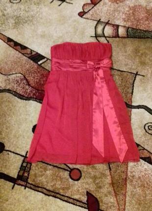 Коктейльное нарядное платье бюстье, атлас с шифоном