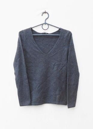 Пыльно- синий oсенний зимний 100% кашемировый свитер с длинным рукавом