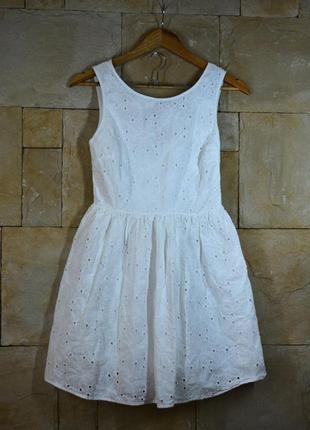 Воздушное белоснежное платья с полуоткрытой спинкой new look