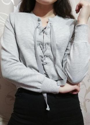 Толстовка свитшот худи укороченный на завязках