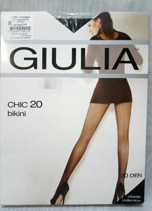 Колготы giulia с эффектным швом и ажурным поясом