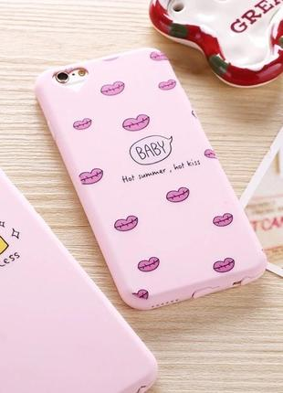 Новый розовый силиконовый мягкий чехол с поцелуями kiss 💋 айфон iphone 📱 6/6s