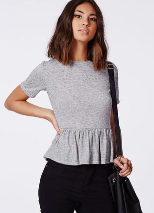 Стильная футболка топ блузка с баской серый меланж missguided