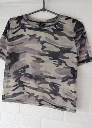 Трендовая камуфляжная футболка (mesh top) new look