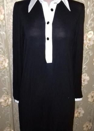 Свободное черно-белое платье-туника