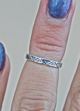 Серебряное фаланговое кольцо арабеска