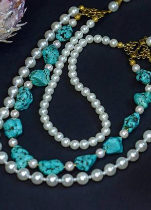 """Дизайнерское ожерелье """"sea pearl""""💙💦🌊"""