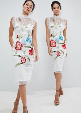 Великолепное платье миди с вышивкой hope & ivy с сайта asos