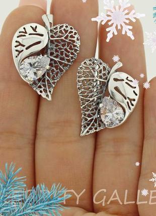 10% скидка - подписчикам! красивые серьги серебряные. i 200044 w срібні сережки