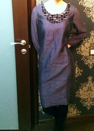 Шелковое платье на новый год с рукавами м 46 40