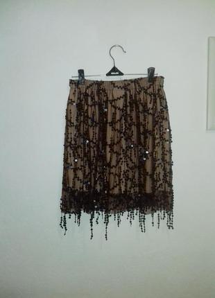 К новому году очень нарядная мини-юбочка с пайетками с-м