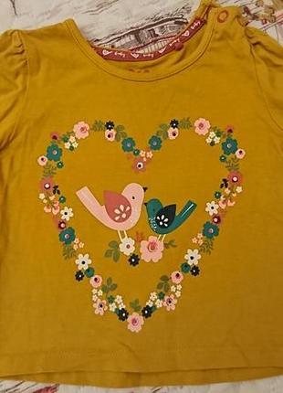 Силая кофточка кофта футболка до длинного рукава фирмы tu для девочки 3-6 месяцев