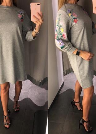 Серое платье свитшот с иммитацией вышивки amisu свободное платье есть размеры