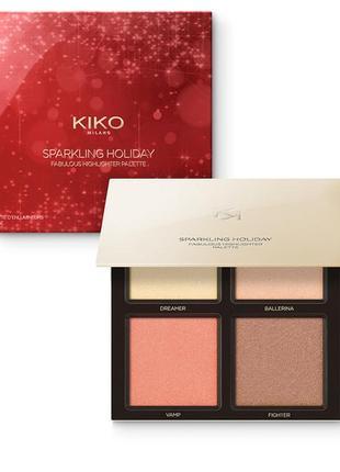 Палетка sparkling holiday fabulous highlighter kiko milano из 4 хайлайтеров для лица