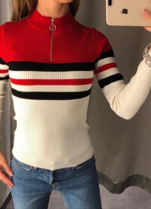 Гольф в рубчик amisu полосатый свитер водолазка есть размеры