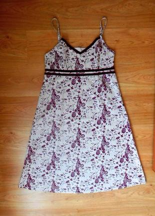 Сарафан платье h&m летний на тонких регулируемых бретельках молния хлопок миди р. l - xl
