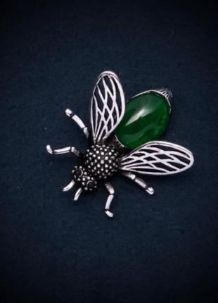 Новая брошь - муха из хризопраза