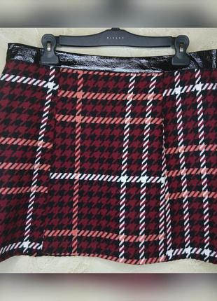 Стильная тёплая шерстяная в гусиную лапку юбка debenhams 3xl 20 батал