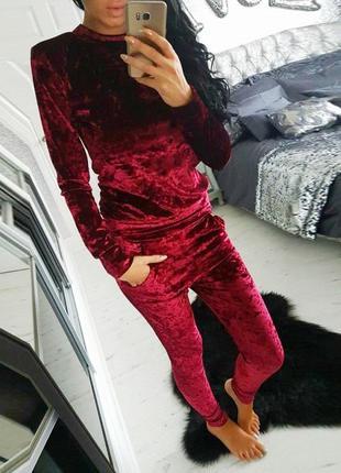 Мраморный велюровый женский спортивный костюм велюр мрамор бордо бордовый
