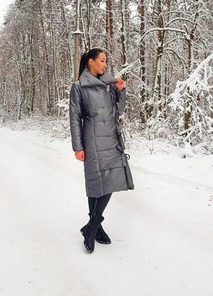 Пальто одеяло серый металлик