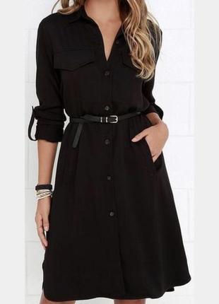Классическое чёрное платье рубашка от mango