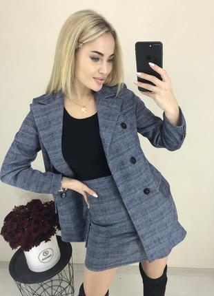 Костюм деловой офисный нарядный жакет длинный пиджак облегающяя юбка xs s m 42 44 46