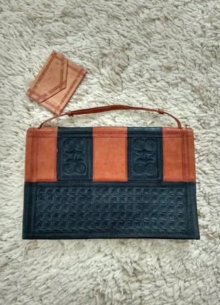 Кожаная сумочка,клатч,органайзер в этно стиле,бохо