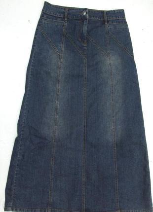 Фирменная джинсовая миди юбка