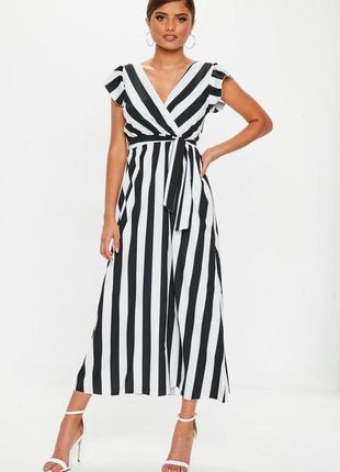 Стильное легкое платье макси в вертикальную полоску с v-образными вырезами s-m missguided