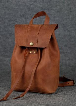 Женский рюкзак на затяжках с кнопкой  11947  коньяк