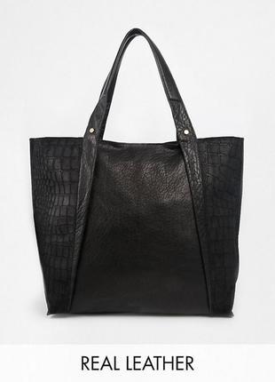 Огромная кожаная сумка шоппер