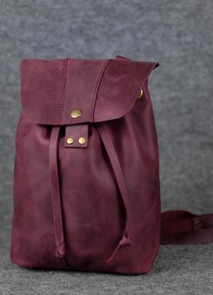 Женский рюкзак на затяжках с кнопкой  11948  бордовый