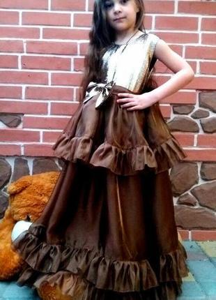 Нарядное платье для девочки с открытой спиной, на утреник в школу сад