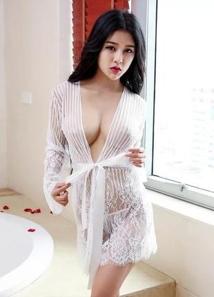 5-185 женский кружевной халат сексуальный халатик эротическое белье