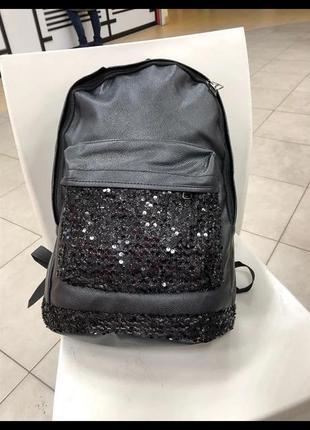 Стильный вместительный рюкзак с пайетками блестящий pu кожа черный