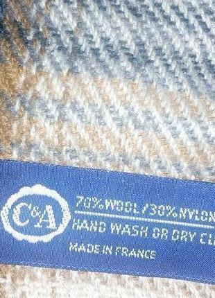 Большой шерстяной шарф в клетку,186*63 см,made in france.