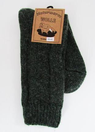 Качественные и теплые вязаные шерстяные носки зеленого цвета