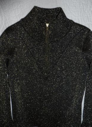 Шикарний золотистий свитер гольф з люрексом topshop
