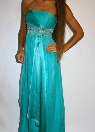 Шелковое платье с вышивкой под грудью !