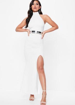 Шикарное вечернее белое платье макси с открытой спиной и разрезом missguided