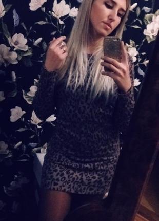 Крутое леопардовое платье туника amisu