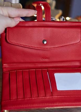 Новый красный кошелек с кнопкой италия